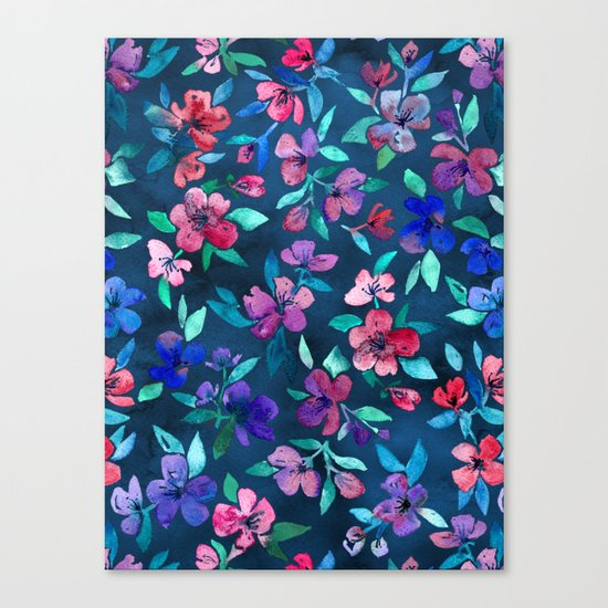 Southern Summer Floral - navy + colors Canvas Print