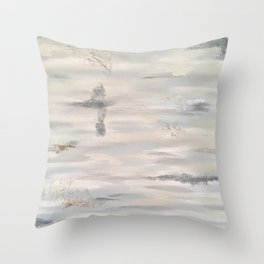 Neutral Driftwood Light Gray Abstract Beachy Painting Throw Pillow