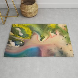 River watercolor abstraction painting Rug
