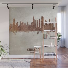 Chicago Illinois Rust Skyline Wall Mural