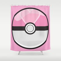 pokeball Shower Curtains featuring Love Pokeball by Pi Design Prints