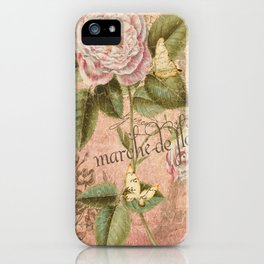 French Flower Market - Marche de Fleur - Rose and French Ephemera Print iPhone Case