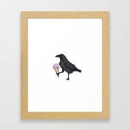 Raven and Ice Cream Framed Art Print