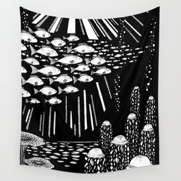 Ocean Night Life Wall Tapestry