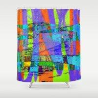 stockholm Shower Curtains featuring stockholm graffic by David Mark Lane