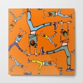 Upside down pattern (in orange) Metal Print