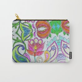 Pink orange lime green artistic watercolor hand drawn flowers Carry-All Pouch