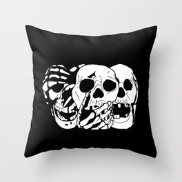 3 Skulls Throw Pillow