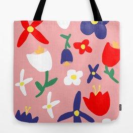 Large Handdrawn Bacchanal Floral Pop Art Print Tote Bag