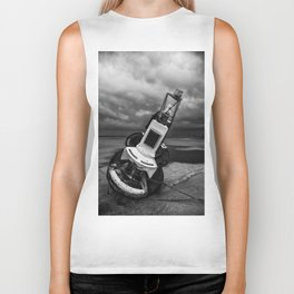 Beach, black and white Biker Tank