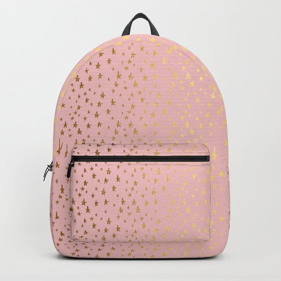 Gold and pink sparkling and shiny Stars pattern on #Society6 Backpack