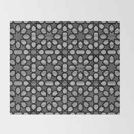 Black and white pattern 2, geometric design, oriental style - Throw Blanket