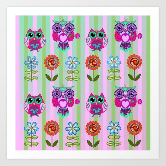 Fantasy summer flowers and owls on a striped background, pattern design Art Print