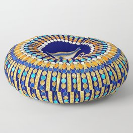 Eye of Thoth with Mandala Inspired By Ancient Egyptian Necklace (lapis lazuli blue) background) Floor Pillow
