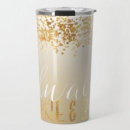 Gold Confetti Ombre Sparkle Travel Mug