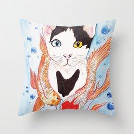 Cat and koi Throw Pillow