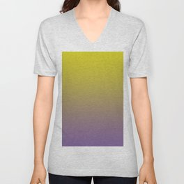 Pantone Chive Blossom Purple 18-3634 and Sulphur Spring Green 13-0650 Ombre Gradient Blend Unisex V-Neck