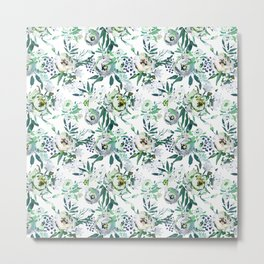 Country white green rustic watercolor floral Metal Print