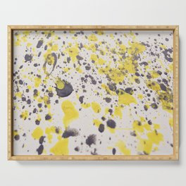 Yellow Grey Classic Abstract Art Serving Tray