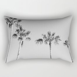 Black Palms // Monotone Gray Beach Photography Vintage Palm Tree Surfer Vibes Home Decor Rectangular Pillow