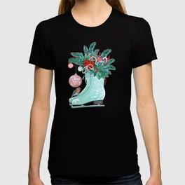 Christmas Ice Skates with Holly, Robins, Poinsettia, Candy Canes and baubles T-shirt