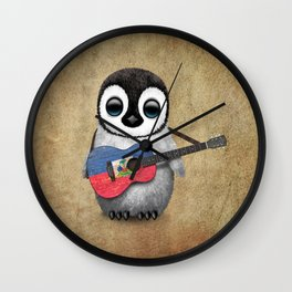 Baby Penguin Playing Haitian Flag Acoustic Guitar Wall Clock