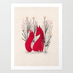 Fox in Shrub Art Print