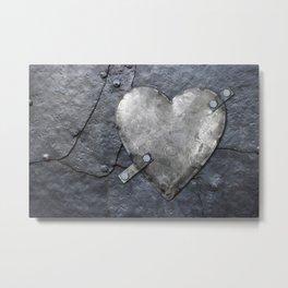 Galvanized metal heart on iron background Metal Print
