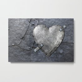 Galvanized metal heart on iron background Metal Print