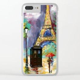 TARDIS IN THE PARIS Clear iPhone Case