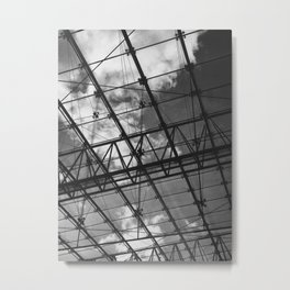 Glass Ceiling IV (Portrait) - Black and White Architectural Photography Metal Print