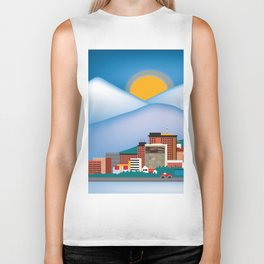 Anchorage, Alaska - Skyline Illustration by Loose Petals Biker Tank