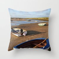 rowing Throw Pillows featuring Rowing Boats by Jude NH