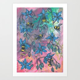 Bees and Borage Art Print