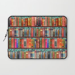 Vintage Books / Christmas bookshelf & holly wallpaper / holidays, holly, bookworm,  bibliophile Laptop Sleeve
