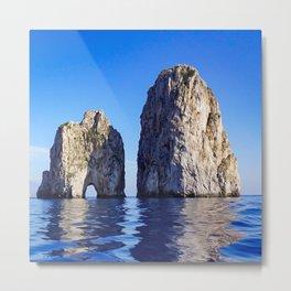 Faraglioni Rocks of the coast of the island of Capri, Italy Metal Print