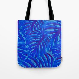 Blue Monstera Plant Tote Bag