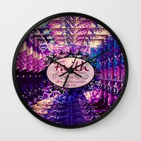 bible verse Wall Clocks featuring FAITH Colorful Purple Christian Luke Bible Verse Inspiration Believe Floral Modern Typography Art by The Faithful Canvas