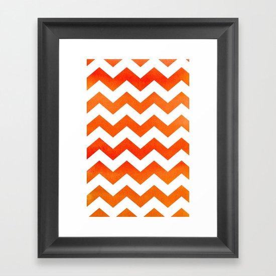 Tangerine Tango Chevron Framed Art Print