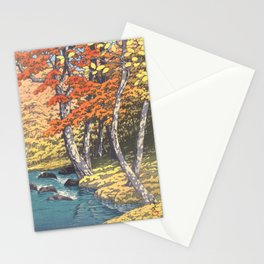 Japanese Woodblock -  Autumn in Oirase by Kawase Hasui, 1933 Stationery Cards