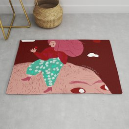 Planet of giant heads Rug