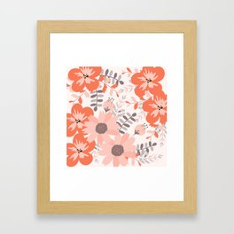 Big Flowers in Pink and Coral Red Framed Art Print