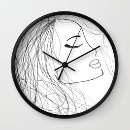Sketch of a Girl. From my Coloring Book by Jodi Tomer. Curly Hair, Beautiful Girl Wall Clock
