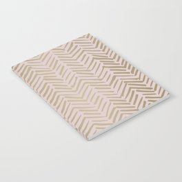 Bohemian, Herringbone, Abstract, Pattern, Blush Pink and Gold Notebook