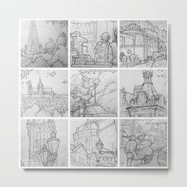 Prague sketches, part one by David A Sutton. sketchbookexplorer.com Metal Print