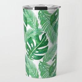Tropical Leaf Pattern Travel Mug