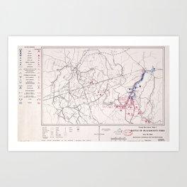 Battle of Blackburn's Ford Map (July 18, 1861) Art Print