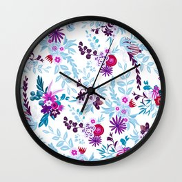 Abstract pastel blue pink country flowers pattern Wall Clock