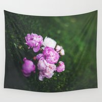 peonies Wall Tapestries featuring Peonies by Chrissy Jenks