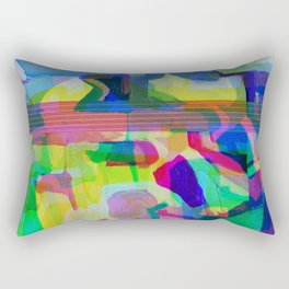 Blue Glitchy Howl Rectangular Pillow